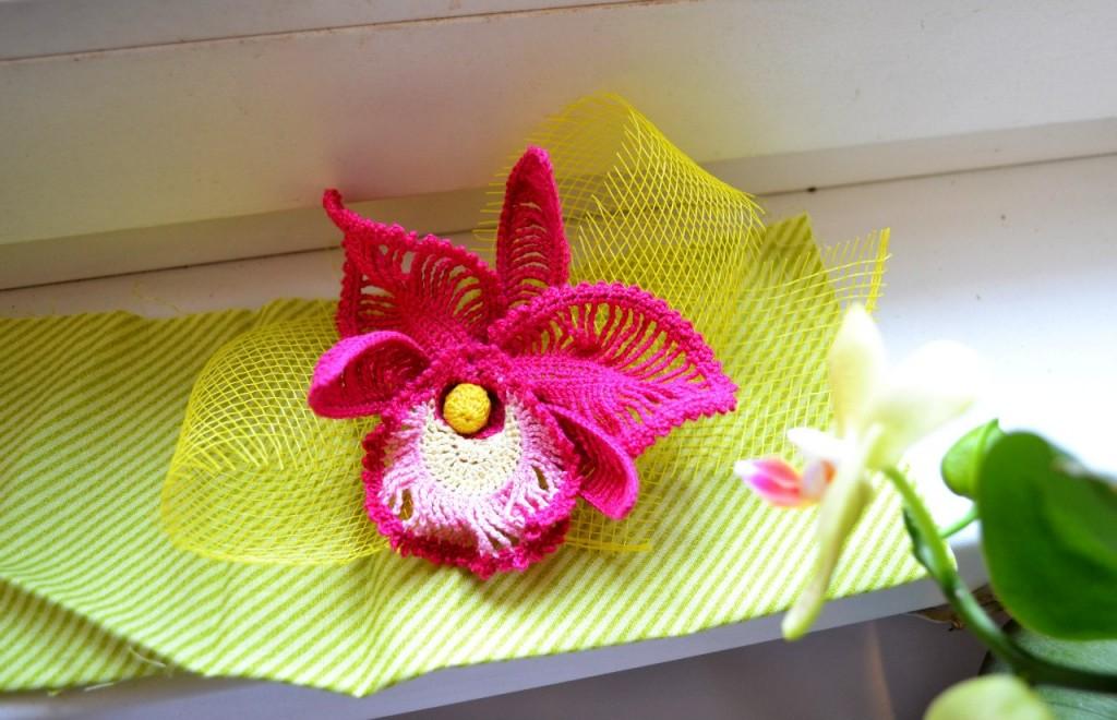 Вязанная орхидея крючкоом